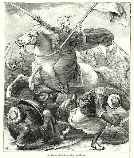 St James of Spain routing the Moors. Illustration for Chatterbox (1901). Publication made up mainly of earlier illustrations.