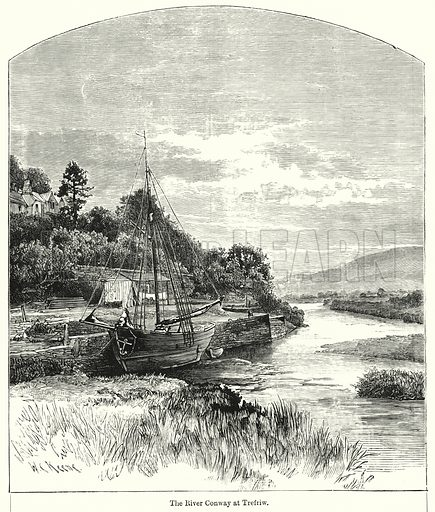 The River Conway at Trefriw. Illustration for Chatterbox (1901). Publication made up mainly of earlier illustrations.