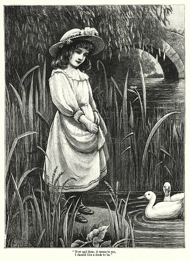 """Now and then, it seems to me, I should like a duck to be."" Illustration for Chatterbox (1901). Publication made up mainly of earlier illustrations."