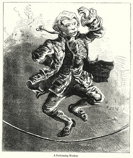 A Performing Monkey. Illustration for Chatterbox (1901). Publication made up mainly of earlier illustrations.