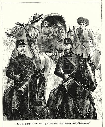"""""""An escort of two police was sent to give them safe conduct from any attack of bushrangers."""" Illustration for Chatterbox (1901). Publication made up mainly of earlier illustrations."""
