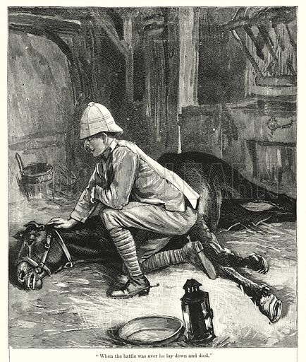 """When the battle was over he lay down and died."" Illustration for Chatterbox (1901). Publication made up mainly of earlier illustrations."