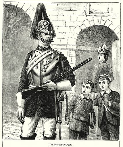 The Household Cavalry.  Illustration for Chatterbox (1901). Publication made up mainly of earlier illustrations.