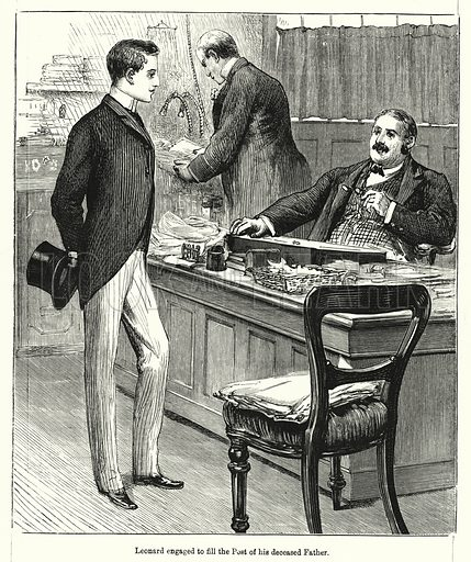 Leonard engaged to fill the Post of his deceased Father. Illustration for Chatterbox (1901). Publication made up mainly of earlier illustrations.