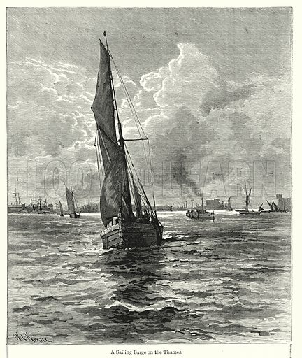 A Sailing Barge on the Thames. Illustration for Chatterbox (1901). Publication made up mainly of earlier illustrations.