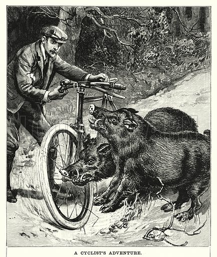 A Cyclist's Adventure. Illustration for Chatterbox (1901). Publication made up mainly of earlier illustrations.