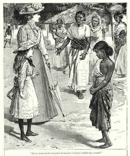 """""""Golab, come to the bungalow tomorrow, and you shall be my servant."""" Illustration for Chatterbox (1901). Publication made up mainly of earlier illustrations."""