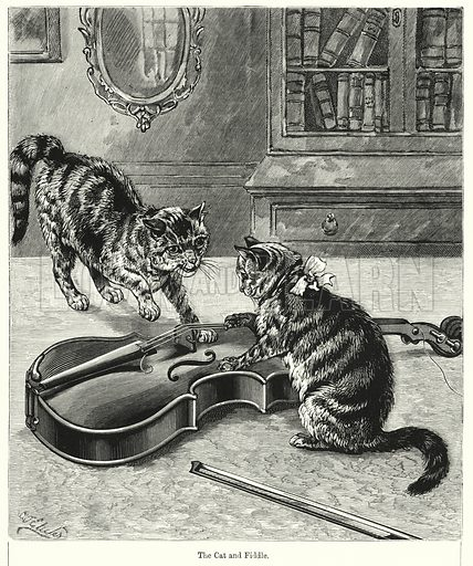 The Cat and Fiddle. Illustration for Chatterbox (1901). Publication made up mainly of earlier illustrations.