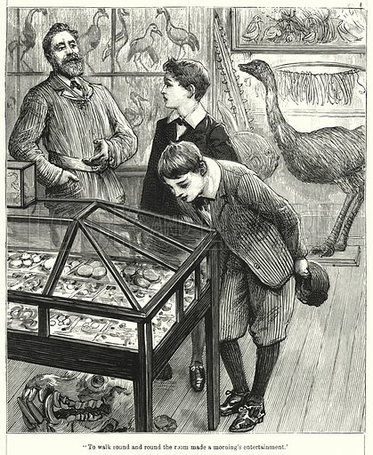 """To walk round and round the room made a morning's entertainment."" Illustration for Chatterbox (1901). Publication made up mainly of earlier illustrations."