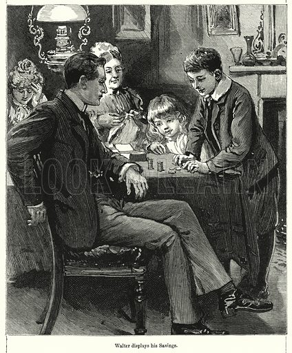 Walter displays his Savings. Illustration for Chatterbox (1901). Publication made up mainly of earlier illustrations.