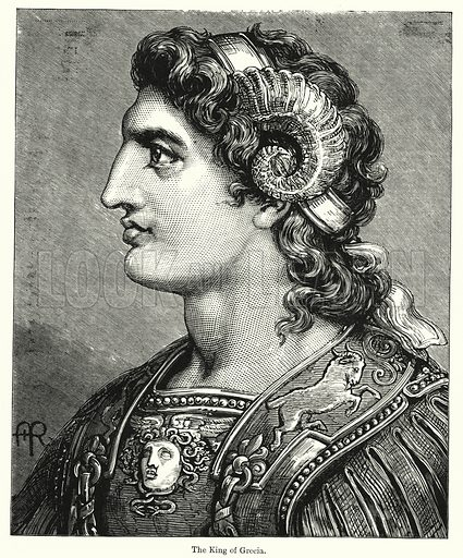 The King of Grecia. Illustration for Chatterbox (1901). Publication made up mainly of earlier illustrations.