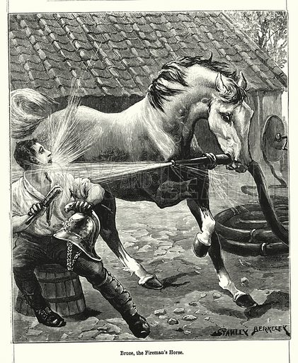 Bruce, the Fireman's Horse. Illustration for Chatterbox (1901). Publication made up mainly of earlier illustrations.