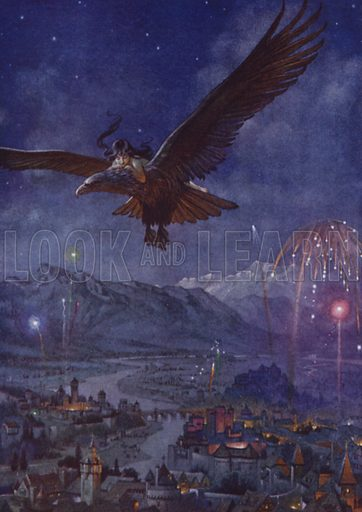 """""""The great City was rejoicing, for it was the King's birthday."""" Illustration for Child of the Air by M H Spielmann (Duckworth, 1910)."""