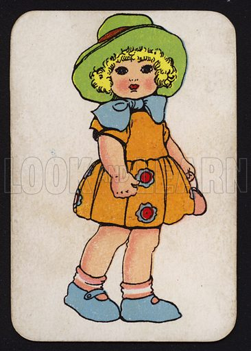 Little girl in a green hat and a big blue bow.  One of a set of Snap game cards published by Chad Valley, early 20th century.