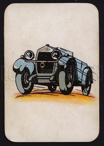 Motor car.  One of a set of Snap game cards published by Chad Valley, early 20th century.