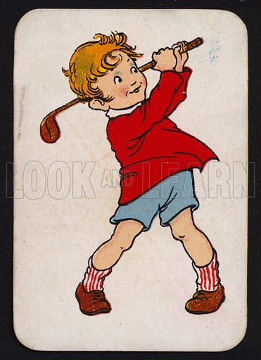 Little boy playing golf.  One of a set of Snap game cards published by Chad Valley, early 20th century.