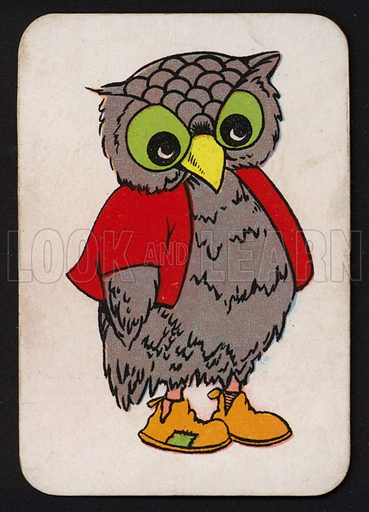 Owl.  One of a set of Snap game cards published by Chad Valley, early 20th century.