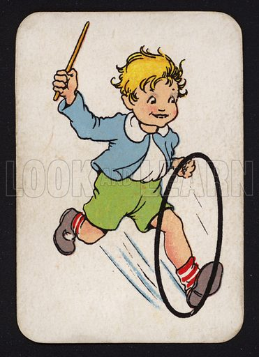 Boy playing with hoop.  One of a set of Snap game cards published by Chad Valley, early 20th century.
