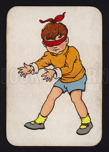 Boy playing blind man's buff.  One of a set of Snap game cards published by Chad Valley, early 20th century.