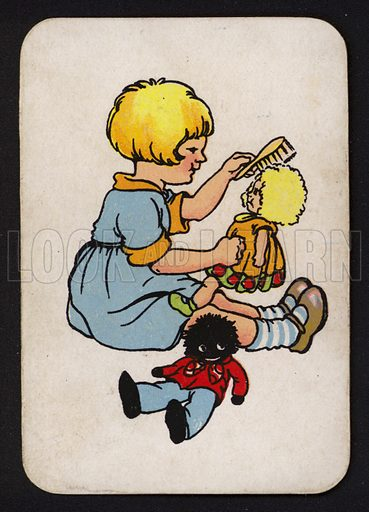 Girl looking after her dolls.  One of a set of Snap game cards published by Chad Valley, early 20th century.