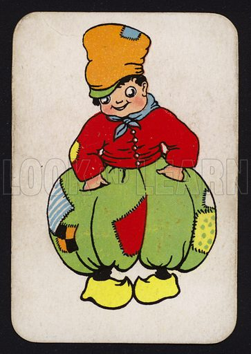 Dutch boy in big trousers.  One of a set of Snap game cards published by Chad Valley, early 20th century.