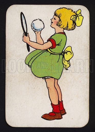Little girl, doing her face in the mirror.  One of a set of Snap game cards published by Chad Valley, early 20th century.