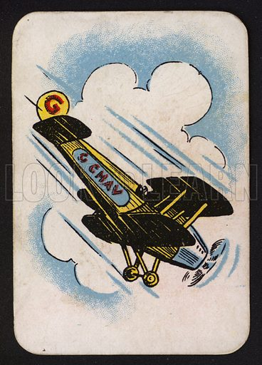 Aeroplane.  One of a set of Snap game cards published by Chad Valley, early 20th century.