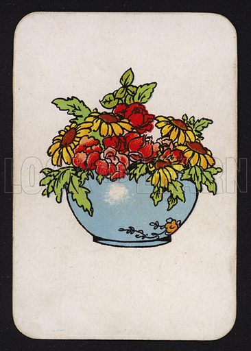 Bowl of flowers.  One of a set of Snap game cards published by Chad Valley, early 20th century.