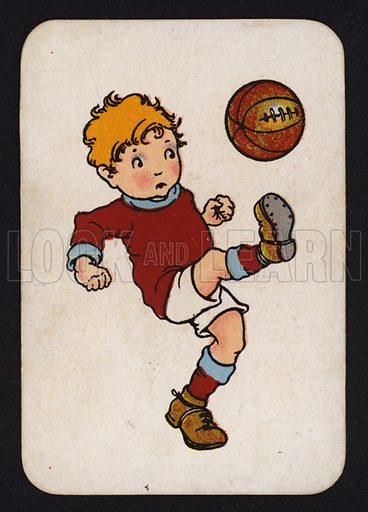 Boy kicking a football.  One of a set of Snap game cards published by Chad Valley, early 20th century.