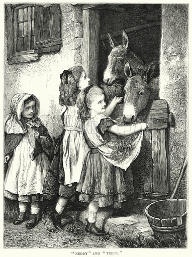 """Neddy"" and ""Teddy."" Illustration for The Children's Friend (1872)."