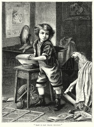 """Now I can wash myself."" Illustration for The Children's Friend (1872)."