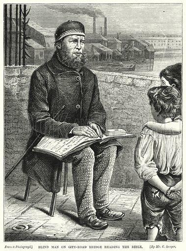 Blind Man on City-Road Bridge reading the Bible. Illustration for The Children's Friend (1872).