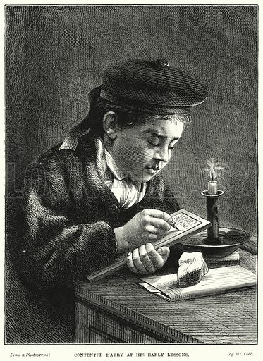 Contented Harry at his Early Lessons. Illustration for The Children's Friend (1872).