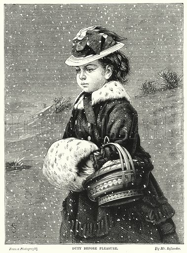 Duty before Pleasure. Illustration for The Children's Friend (1872).
