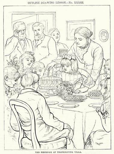 The Birthday at Thanksgiving Villa. Illustration for The Children's Friend (1881).
