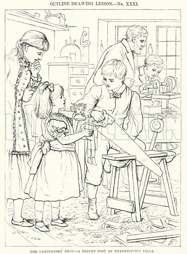 The Carpenter's Shop, a Bright Spot at Thanksgiving Villa. Illustration for The Children's Friend (1881).