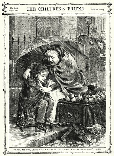 """Greg, my boy, creep under my shawl and have a bit o' my supper."" Illustration for The Children's Friend (1881)."