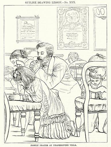 Family Prayer at Thanksgiving Villa. Illustration for The Children's Friend (1881).