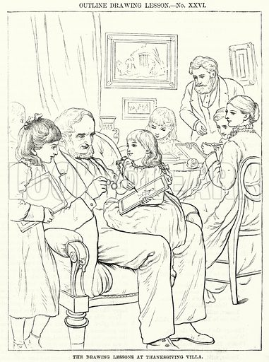 The Drawing Lessons at Thanksgiving Villa. Illustration for The Children's Friend (1881).