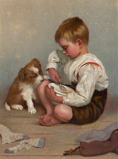 """Breakfast for two."" Illlustration for The Children's Friend (1888)."