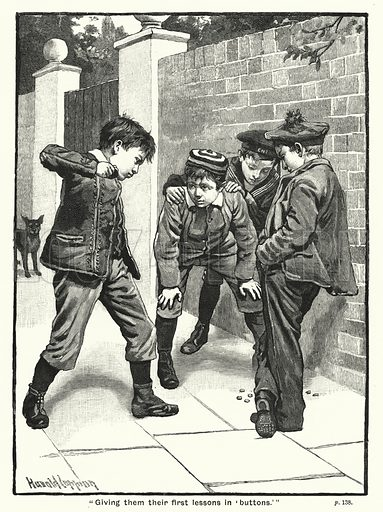 """Giving them their first lessons in 'buttons.'"" Illustration for The Children's Friend (1888)."