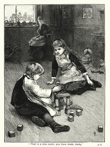 """""""That is a nice castle you have made, Jacky."""" Illustration for The Children's Friend (1888)."""