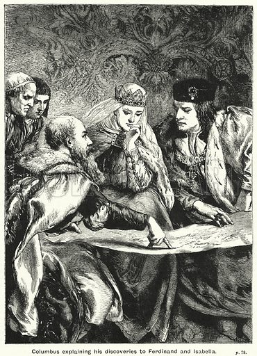 Columbus explaining his discoveries to Ferdinand and Isabella. Illustration for The Children's Friend (1890).