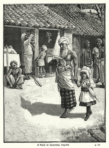 A Walk in Colombo, Ceylon. Illustration for The Children's Friend (1891).