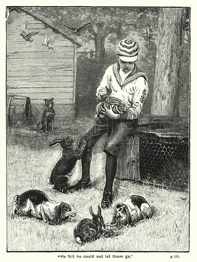 """He felt he could not let them go."" Illustration for The Children's Friend (1891)."
