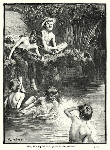"""Oh, the joy of that game in the water!"" Illustration for The Children's Friend (1891)."