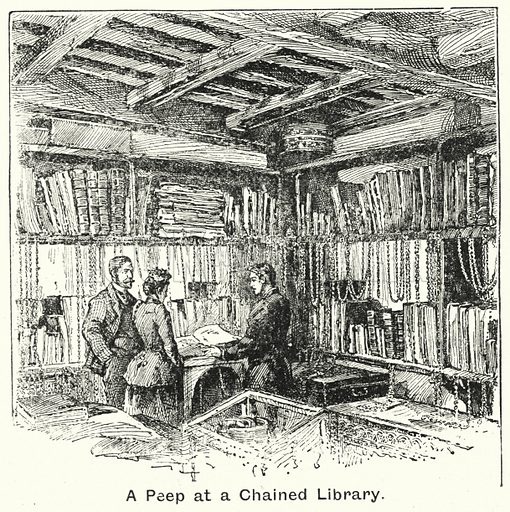 A Peep at a Chained Library. Illustration for The Children's Friend (1898).