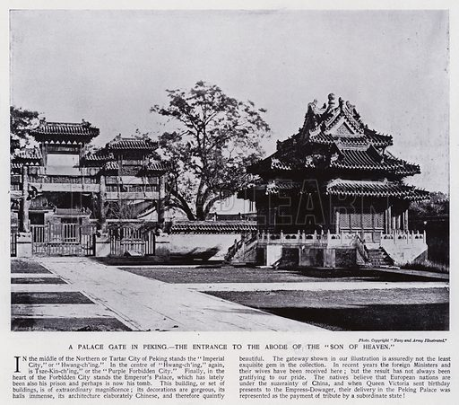 "A palace gate in Peking, the entrance to the abode of the ""Son of Heaven."" Illustration for China of Today or The Yellow Peril edited by Charles N Robinson (Navy & Army Illustrated and George Newnes, c 1896)."