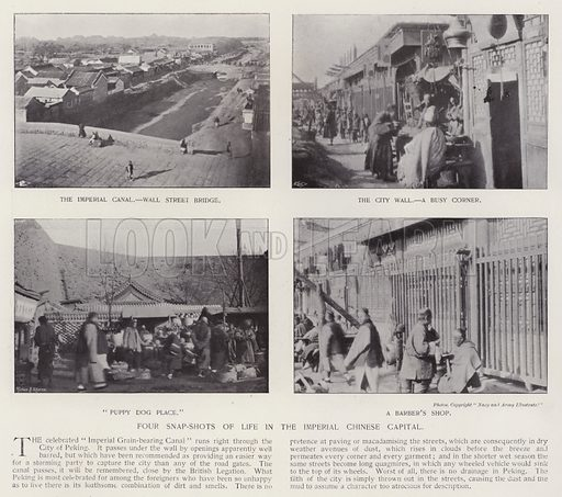 Four snap-shots of life in the imperial Chinese capital. Illustration for China of Today or The Yellow Peril edited by Charles N Robinson (Navy & Army Illustrated and George Newnes, c 1896).