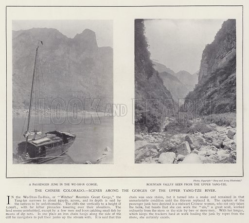 The Chinese Colorado, scenes among the gorges of the upper Yang-tze River. Illustration for China of Today or The Yellow Peril edited by Charles N Robinson (Navy & Army Illustrated and George Newnes, c 1896).